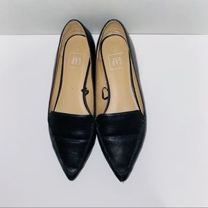 Gap Black Faux Leather Pointed Flats Loafer Work